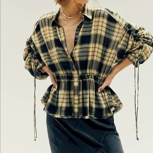 We The Free Free People Black Combo Plaid Ruched